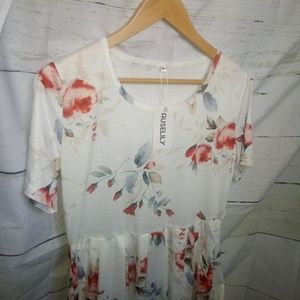 Women's White Floral Dress With Pockets Large